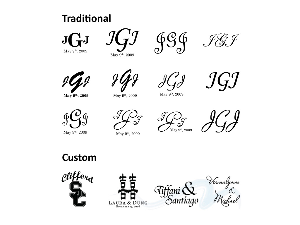Different Approaches Traditional Gobo Monogram Projection Samples